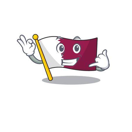Call me cute face flag qatar Scroll mascot cartoon design 矢量图像