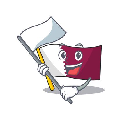 Flag qatar Scroll cartoon character style with standing flag