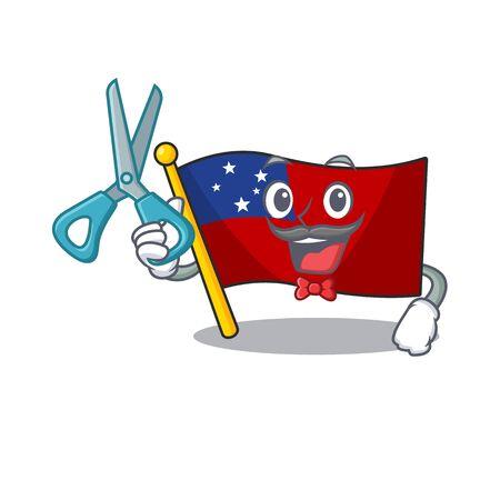 Funny Barber flag samoa Scroll cartoon character design style
