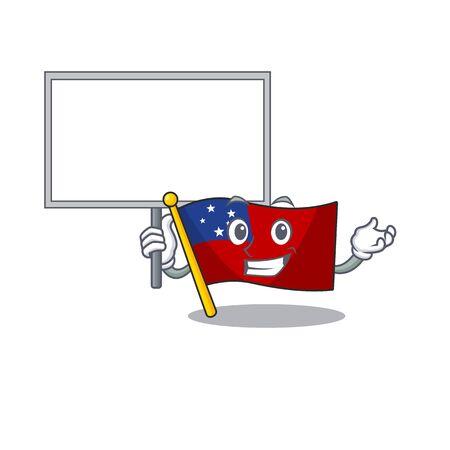 Flag samoa Scroll cute cartoon character bring a board