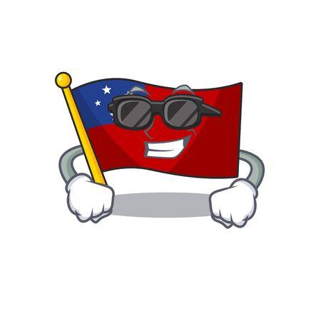 Super cool flag samoa Scroll character with black glasses