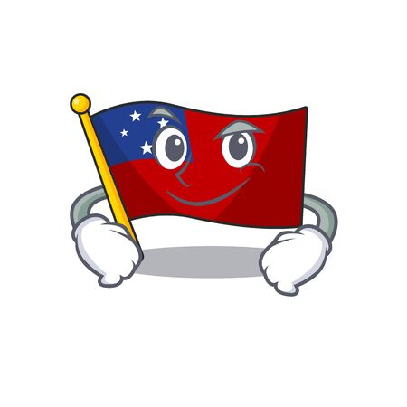 Cool flag samoa Scroll mascot character with Smirking face