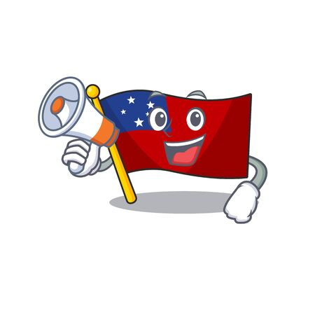 a Picture of flag samoa Scroll holding a megaphone. Vector illustration Vektorové ilustrace