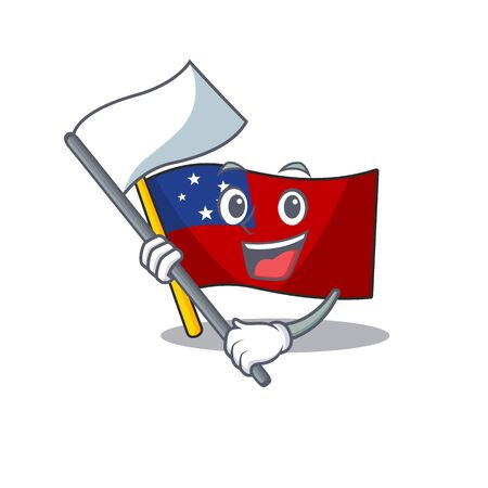 Flag samoa Scroll cartoon character style with standing flag
