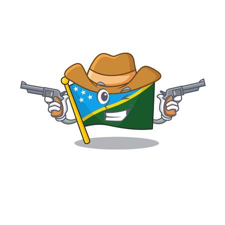Flag solomon island Scroll mascot performed as a Cowboy with guns