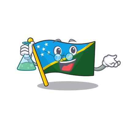 Funny and Smart Professor flag solomon island Scroll mascot holding glass tube Çizim