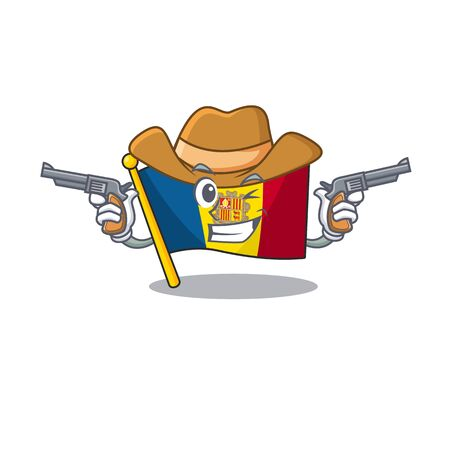 Flag andorra Scroll mascot performed as a Cowboy with guns