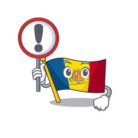 Cartoon design of flag andorra Scroll raised up a sign. Vector illustration