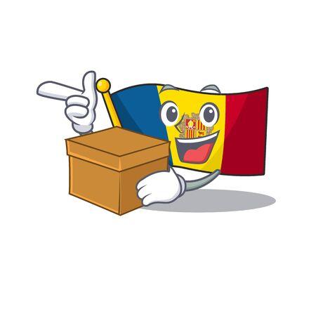 Flag andorra Scroll cartoon character bringing a box