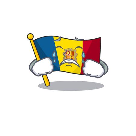 Triste drapeau pleurant andorre conception de personnage de dessin animé de défilement Vecteurs