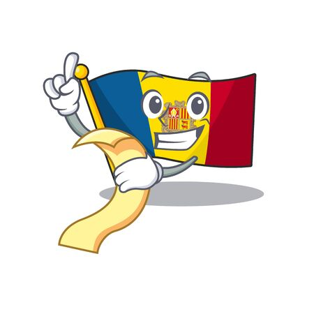 Flag andorra Scroll cartoon character holding menu ready to serve