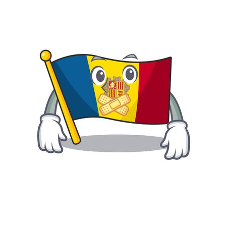 Flag andorra Scroll mascot cartoon character design on silent gesture