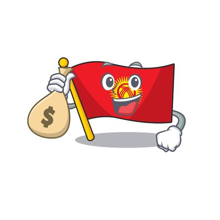 Smiley flag kyrgyzstan Scroll cartoon character with money bag