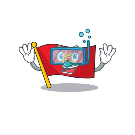 cartoon Mascot featuring flag kyrgyzstan Scroll wearing Diving glasses