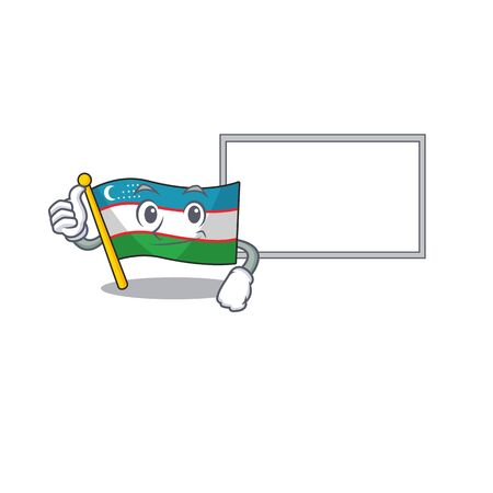 cute flag uzbekistan Scroll cartoon character Thumbs up with board Illustration