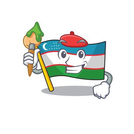 Funny flag uzbekistan Scroll Artist cartoon character holding brush. Vector illustration