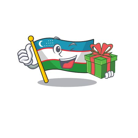 happy face flag uzbekistan Scroll character with gift box. Vector illustration
