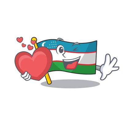Funny Face flag uzbekistan Scroll cartoon character With heart. Vector illustration