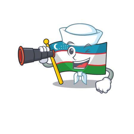 happy Sailor flag uzbekistan Scroll cartoon design with binocular