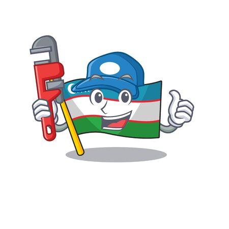 Smart Plumber flag uzbekistan Scroll on cartoon character design. Vector illustration Illustration