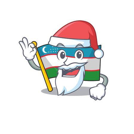 Santa flag uzbekistan Scroll cartoon character design with ok finger Illusztráció