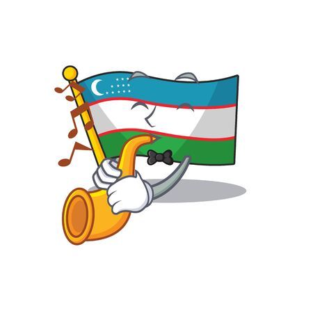 Flag uzbekistan Scroll cartoon character design performance with trumpet
