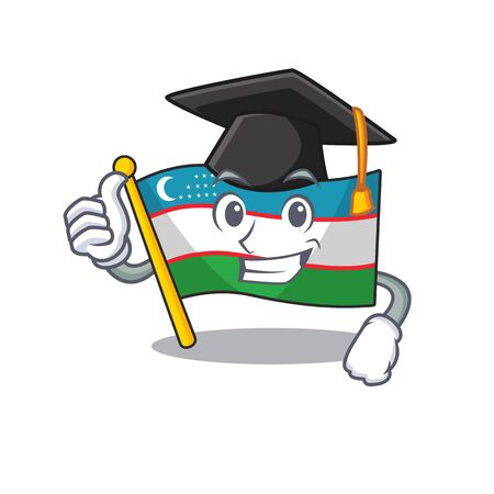 happy flag uzbekistan Scroll wearing a black Graduation hat