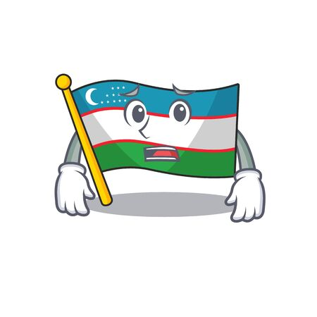 mascot of flag uzbekistan Scroll showing afraid look face