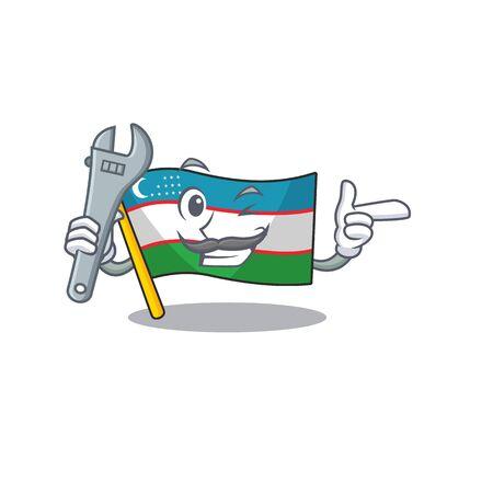 Cool Mechanic flag uzbekistan Scroll cartoon character design