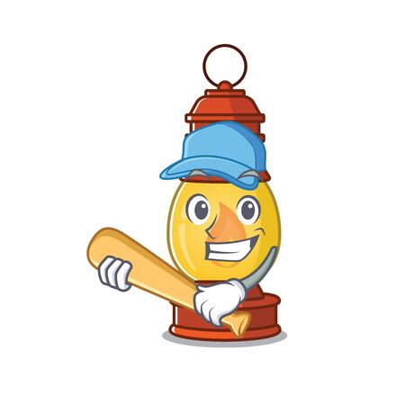 Cool lantern Scroll cartoon character design with baseball Illustration