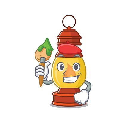 Funny lantern Scroll Artist cartoon character holding brush