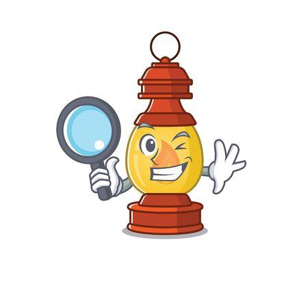 Smart lantern Scroll Detective cartoon character design Ilustração