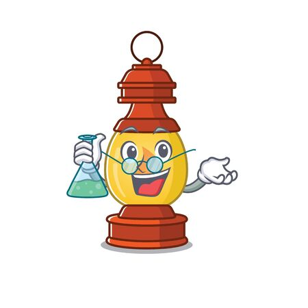 Funny and Smart Professor lantern Scroll mascot holding glass tube