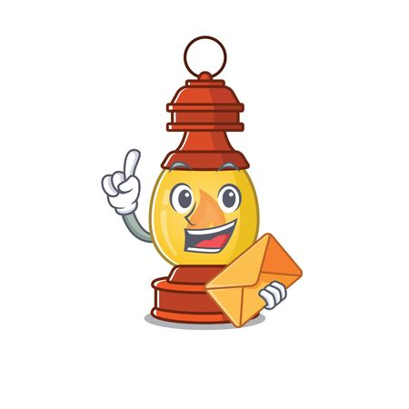 Happy face lantern Scroll mascot design with envelope Иллюстрация