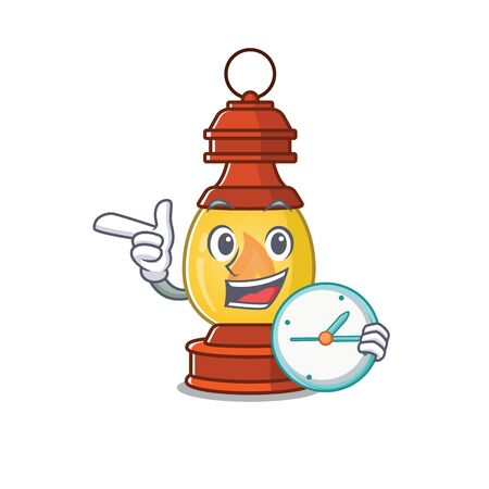 smiling lantern Scroll cartoon character style with clock