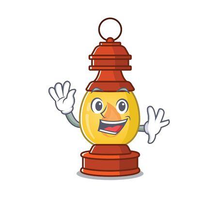 Waving cute smiley lantern Scroll cartoon character design