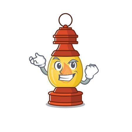 Happy confident Successful lantern Scroll cartoon character style Ilustração