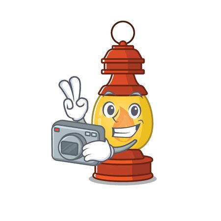 a professional Photographer lantern Scroll mascot style with a camera