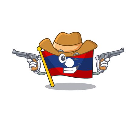 Flag laos Scroll mascot performed as a Cowboy with guns. Vector illustration 向量圖像