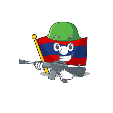 A mascot of flag laos Scroll Army with machine gun. Vector illustration