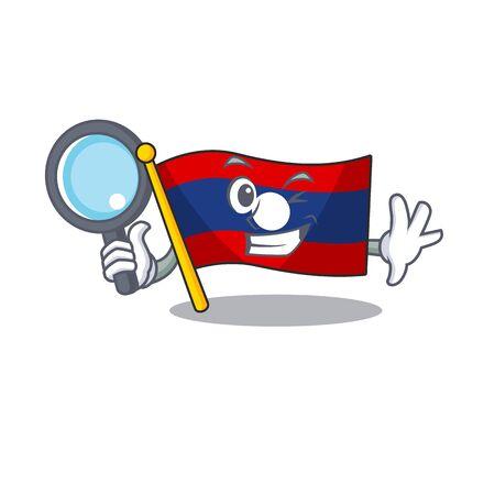 Smart flag laos Scroll Detective cartoon character design. Vector illustration