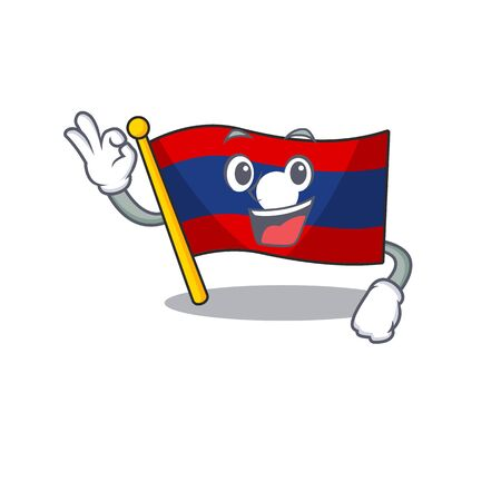 Flag laos Scroll mascot design making an Okay gesture. Vector illustration
