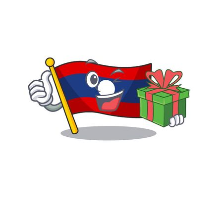 happy face flag laos Scroll character with gift box. Vector illustration Ilustração