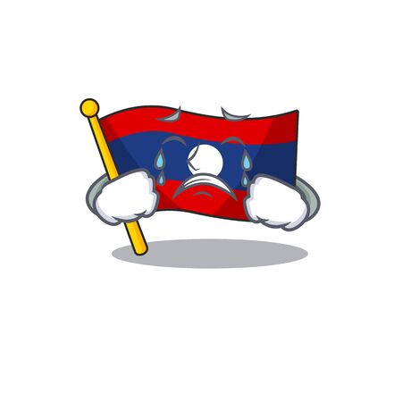 Sad Crying flag laos Scroll cartoon character design. Vector illustration