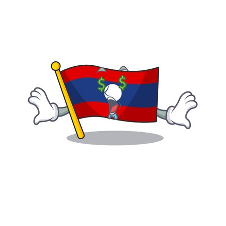 Flag laos Scroll with Money eye cartoon character style. Vector illustration
