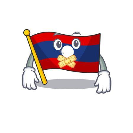 Flag laos Scroll mascot cartoon character design on silent gesture. Vector illustration