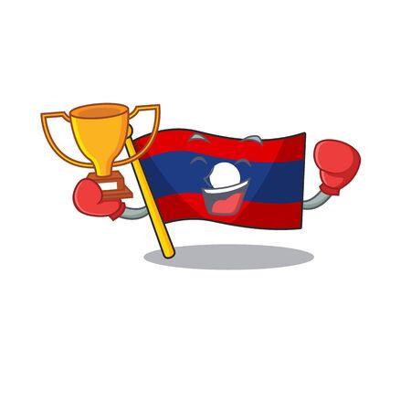 Super cool Boxing winner flag laos Scroll in mascot cartoon design. Vector illustration