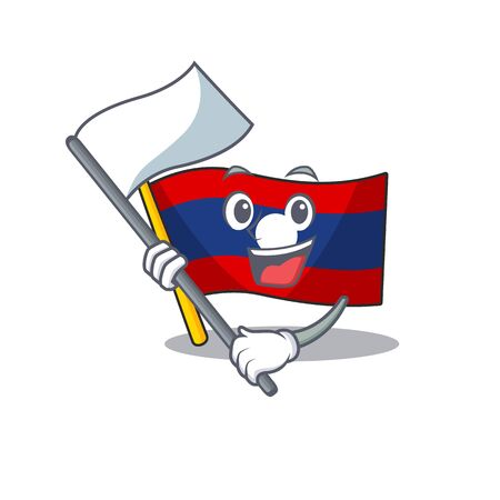 cute flag laos Scroll cartoon character style with standing flag. Vector illustration