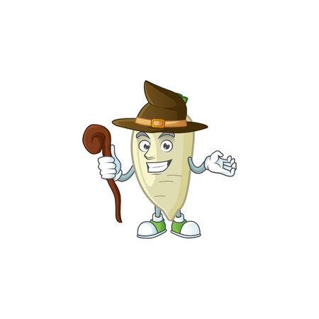 Happy Face Witch white radish cartoon character style. Vector illustration