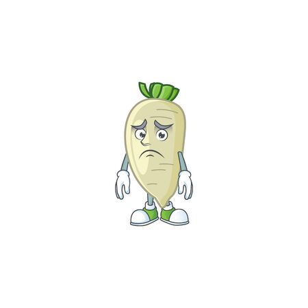 Afraid white radish Cartoon character mascot design. Vector illustration